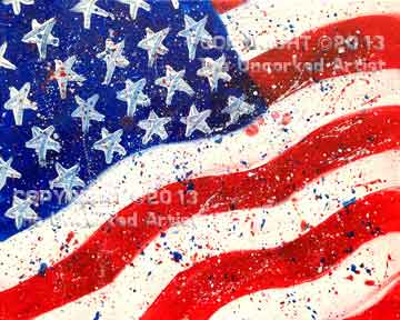 Splatter Flag (#005) • Created by Erin • 16x20 canvas • Tier 1