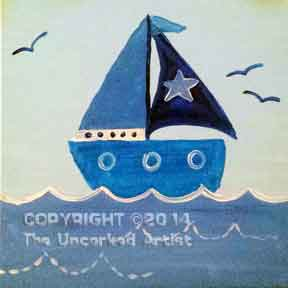 Baby Blue Sailboat (#019) • Created by Erin • 12x12 canvas • Tier 1