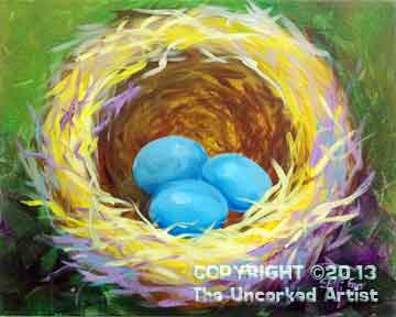 Blue Bird Nest (#128) • Created by Steffi • 16x20 • Tier 3