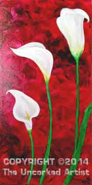 Calla Lilies (#096) • Created by Rebecca • Special thanks to Kelly Doak www.sippingnpaintinghampden.com • 10x20 • Tier 3