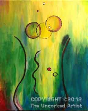 Naked Champagne Glass (#069) • Created by Mandy • Is this a naked woman's silhouette, or a bubbly champagne glass? • 16x20 canvas • Tier 2