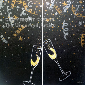 Champagne Glasses Partner Painting (#375) • Created by Steffi • 10x20 • Tier 3