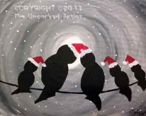 Christmas Love Birds On A Wire (#025) • Created by Mandy • 16x20 canvas • Tier 1