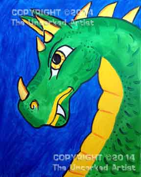 Dangerous Dragon (#053) • Created by Karoline  (Also see the adult Dragon version in Tier 3) • Template pre-sketched • 16x20 canvas • Tier 2