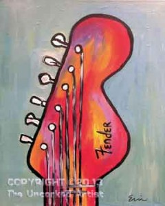 Fender Guitar (#057) • Created by Erin • 16x20 canvas • Template pre-sketched • Tier 2