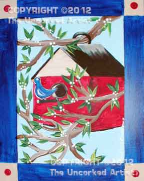 Folk Art Birdhouse (#153) • 16x20 • Tier 3