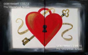 Partner Painting Key To My Heart (#073) • Created by Becky • 11x14 canvas • Tier 2