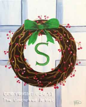 Monogram Door Wreath (#176) • Created by Susan • 16x20 • Tier 3