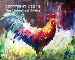 Palette Knife Rooster (#248) • Created by Steffi • 16x20 • Tier 4