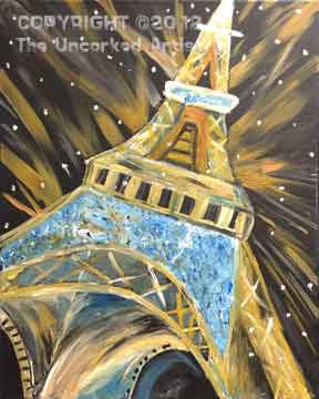 Paris At Night (#132) • Created by Mandy • Special thanks to Catherine Hover, www.saratogapaintandsip.com  • 16x20 • Tier 3