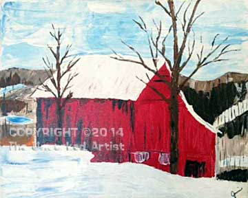 Palette Knife Red Barn (#172) • Created by Jamie • 16 x 20  • Tier 4