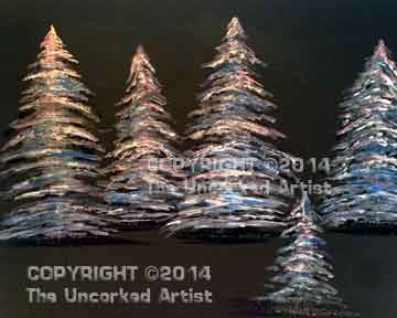 Silver Glitter Shimmer Trees (#288) • Created by Becky • Special thanks to Kelly Doak www.sippingnpaintinghampden.com • 16x20 • Tier 3