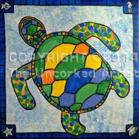 Stained Glass Turtle (#206) • Created by Karoline • Template pre-sketched • 12x12 • Tier 3