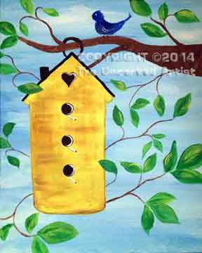 Yellow Birdhouse (#230) • Created by Jenn • 16x20 • Tier 3