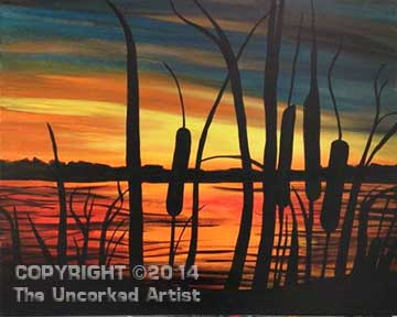 Cattail Sunset (#094) • Created by Michelle • 16x20 • Tier 3