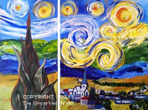 Van Gogh Starry Night Partner Painting (#322) • Created by Trish • 10x20 + 16x20 • Tier 4