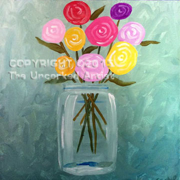 Mason Jar Flowers (#340) • Created by Crystal • 12×12 • Tier 3