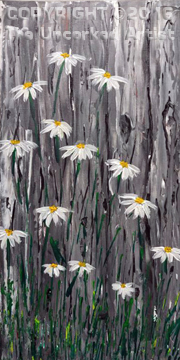Palette Knife Barn Yard Daisies (#424) • Created by Lisa • 16×20 • Tier 3