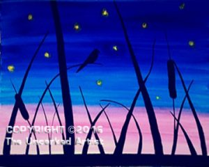 Sunset Birds & Fireflies (#449) • Created by Jamie • 16×20 • Tier 3