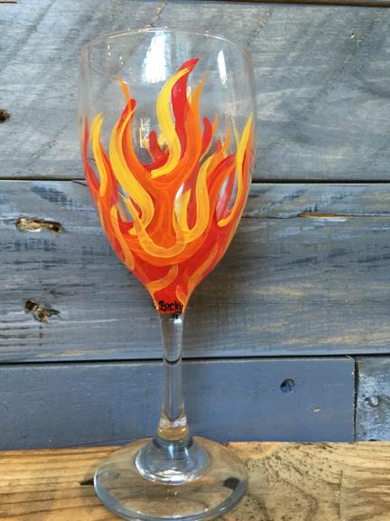Flames Wine Glass