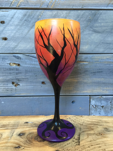 Sunset Tree Wine Glass