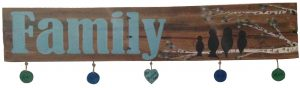 $50 Fresh Wood Plank • Family with hanging chips •  5