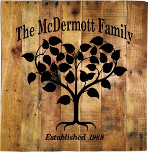$50 - C - Customized Family Tree with Name and Established Date Pallet Wood