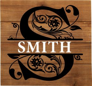 $50 - B - Fancy Monogram with Last Name Fresh Wood  ($60 Authentic Pallet Wood) Approx.  12