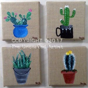Burlap Cactus Minis (#480) • Created by Rebecca • 6×6 (set of 4) • Tier 4