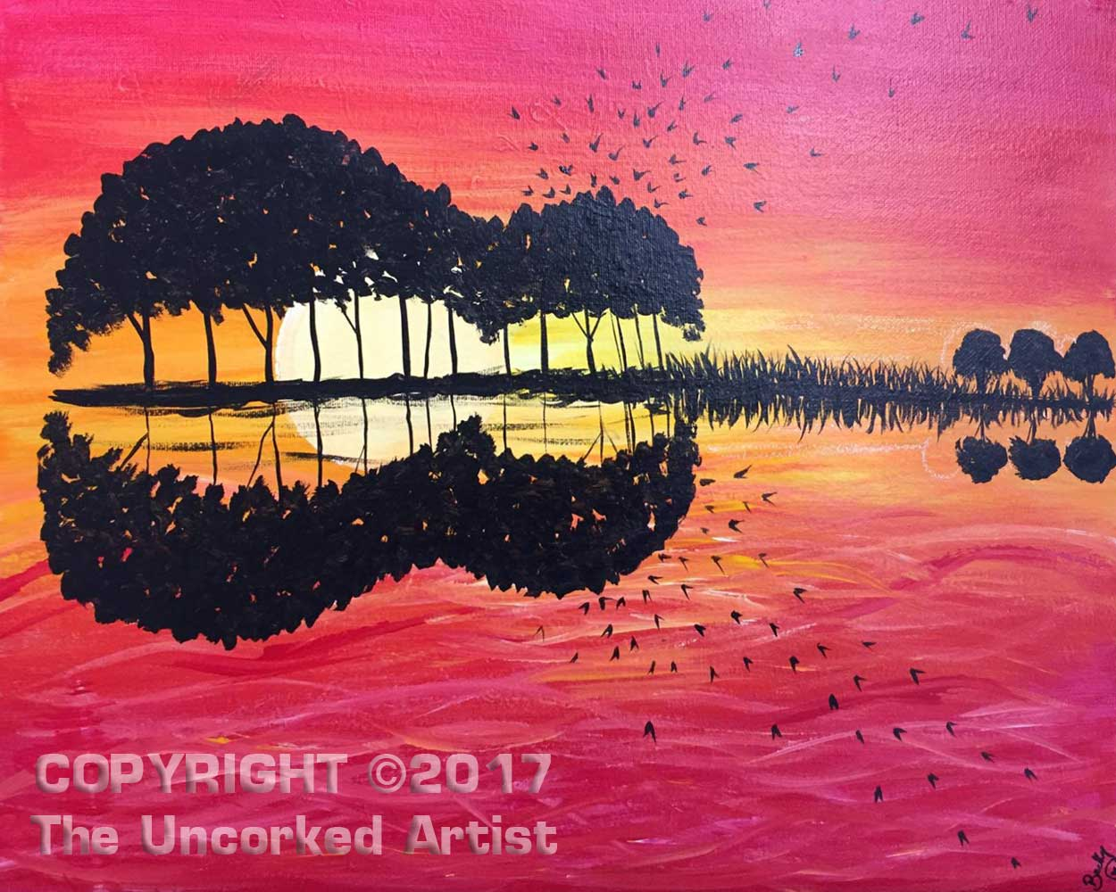 Guitar Sunset  (#422) • Created by Becky • 16x20 • Tier 3