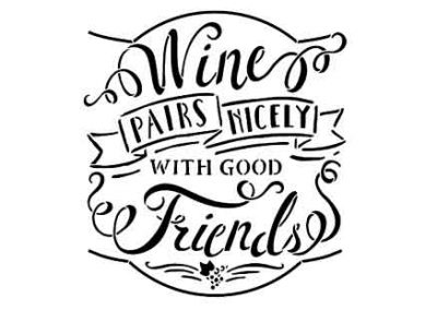 WinePairsNicelyWithGoodFriends-12x12