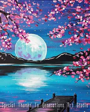 Cherry Blossom Moon (#522) • Generations Studio • 16x20 • Tier 3