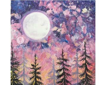 Rustic Moon With Pines (#537) • Instant Artist • 16x20 • Tier 3