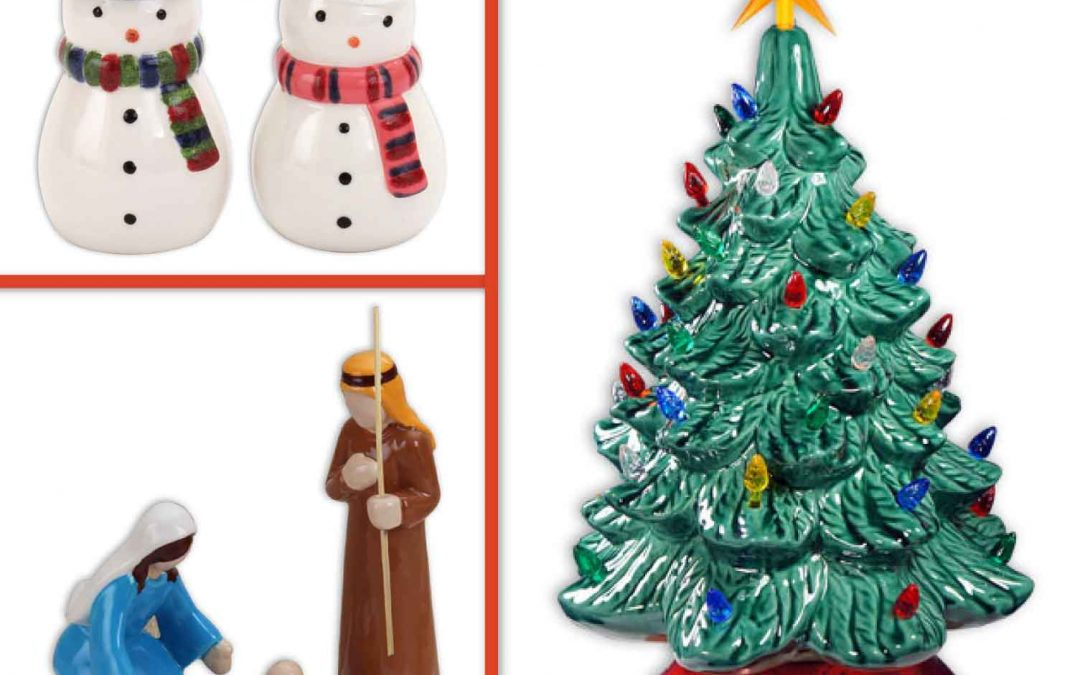 Ceramic Nativity, Snowpeople Salt & Pepper Shakers, or Vintage Lighted 13″ Ceramic Christmas Tree (Family Friendly)