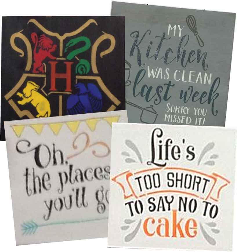 Family 4-pack Stenciled Wood Signs